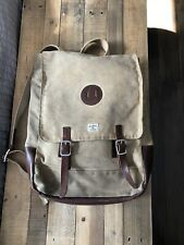 Billykirk Army Tan Waxed Canvas Backpack Rucksack With Leather Trim $230