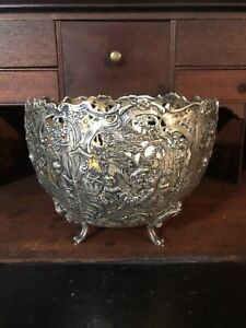 Antique Ornate Sterling German Rococo Revival Pierced Bowl 24 Oz Scrap Or Not