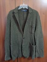 Mens Ralph Lauren polo heavy knit Sports Coat blazer Jacket L large Green Wool
