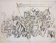 Albert Sway c.1940's dance hall drawing NYC social realist artist
