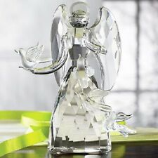 """Faceted Crystal Angel With Doves Figurine very Deluxe New In Box Great Gift 5"""" H"""
