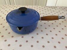 Vintage Le Creuset 18cm  Blue Cast Iron Saucepan.