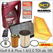 VW Golf 6 & Golf Plus 1.6 2.0 TDI ab 2009 | Inspektionspaket Filter + 5L 5W30 Öl