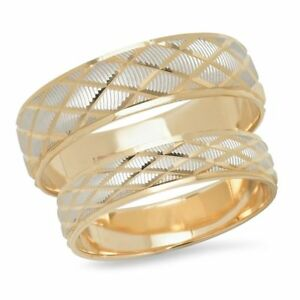 14K Two Tone Gold Mens Womens His Hers Diamond Pattern Wedding Band Ring Set Duo