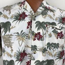 St. Thomas Hawaiian Aloha Medium Shirt Hula Palm Trees Tiki Hut Floral