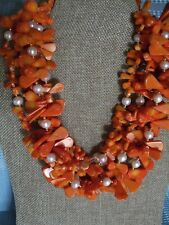 Hand Made Orange Coral Teardrop Slice Pearl Gold 4 Multi Strand Torsade Necklace