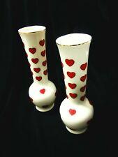 PARMA - Parma AAI Hearts 22k Gold Trim Porcelain Vases Made In Japan A-1159 2pcs