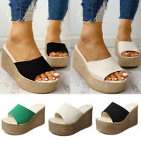 Womens Slip On Platform Espadrille Peep Toe Sandals Wedge Heel Slippers Shoes