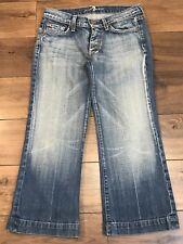 Women's 7 for all Mankind Crop Dojo Capri distressed stretch jeans 27 medium low