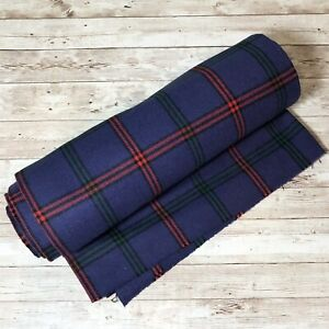 """Purple Red Green Black Wool Plaid Fabric Lightweight 8' Ft X 56"""" Inches Uncut"""