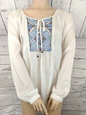 NWT - Angie Women's White LS BOHO Blouse Top w Embroidery - M (FITS BIG)