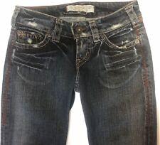 1921 Jeans Western Glove Works LS018 Med Wash Boot Cut *Sz 25/34 Red Tan Stitch
