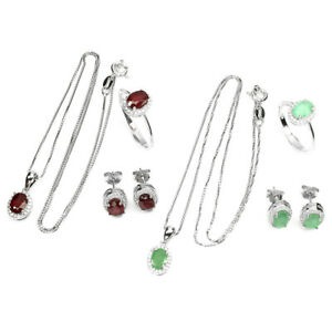 Oval Cut 7x5mm Ruby Emerald White Cz 925 Sterling Silver Ring Earirngs Necklace
