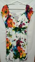 Jams World Women's Size M Hawaiian Floral Dress Cap Sleeve Pockets