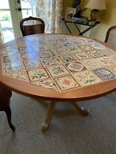 "Pulaski 49.5. "" Tile Top Oak Dining Room Table"