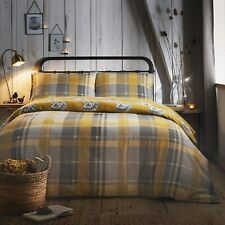 100% Brushed Cotton Reversible Checked Hedgehogs Ochre and Grey Duvet Cover Set