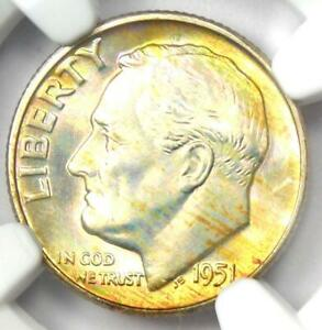 1951-D Roosevelt Dime 10C - Certified NGC MS68 FT - Rare MS68 FB - $1,700 Value!