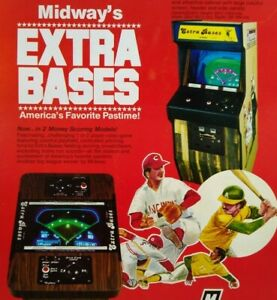 Extra Bases Arcade Flyer Midway Original 1980 Retro Baseball Art Print Promo