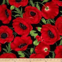 Timeless Treasures Poppies Large Poppy Red Half Yard 45cm x 110cm Cotton 100%