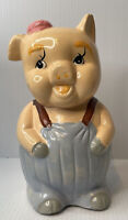 """Vintage Ceramic/Clay Adorable PIG Piggy Bank 4.6"""" x 4.4"""" and 9.1"""" tall"""
