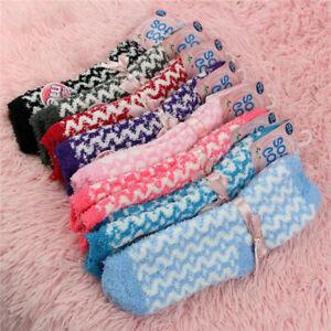 5 Pairs Women Lounge Bed Floor Socks Fleece Fluffy Warm Winter Soft Ladies UK