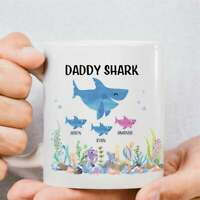 Daddy Shark Mug Personalized Gift For Dad For Fathers Day Personalized Daddy Mug