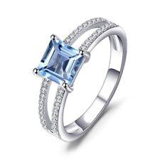 1.4Ct Princess Cut Aqua Diamond Engagement Solitaire Ring 9ct Solid White Gold
