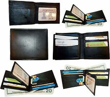 Lot of 6. Man's Wallet. leather Black Bi fold wallet 12 credit cards 2 billfolds