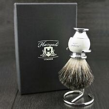 BRAND NEW - 100% PURE BADGER HAIR SHAVING BRUSH WITH STEEL HOLDER / STAND