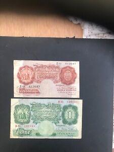 MAHON BANK OF ENGLAND TEN SHILLINGS & ONE POUND Z AND A PREFIX 1925-1929 RARE