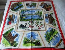 VINTAGE C1960'S PRINTED PURE LINEN SOUVENIR TABLE CLOTH PERTH WESTERN AUSTRALIA