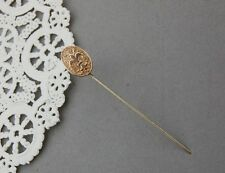 """Fleur De Lis Stick Pin Gold Fill Oval Victorian French France New Orleans 2 5/8"""""""