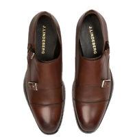 J. LINDEBERG Men's Dark Brown Eng Double Monk Italian Calf Shoes $395 NWOB