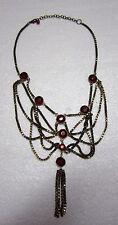 Red Rhinestone Gold Tone Box Chain Tassle Elegant Statement Necklace