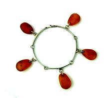 Antik Ambre Argent Bracelet Natural Amber Russian Charm Bracelet Vintage
