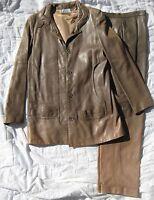 Vintage Karl Lagerfeld Chloe leather JACKET & PANTS couture suit set coat retro