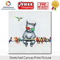 Stretched Canvas Print *Cats and Birds* Painting Wall Art Home Decor Gift NEW