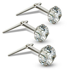 STERLING SILVER ANDRALOK NOSE STUDS SINGLE EARRING CUBIC ZIRCONIA WHITE CZ PINS