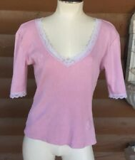 LUCKY BRAND Pink Ribbed Knit Top V Neck With Lace And Applique Hearts Sz L