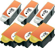 6x TINTE PATRONEN für KODAK 30 XL ESP OFFICE SERIE 2100 2150 2170 HERO 3.1 5.1