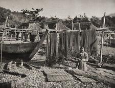 1929 JAPAN Vintage Photo Gravure INATORI FISHING Ships Nets Nautical Art FELLNER