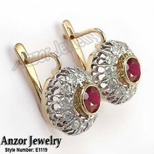 14k Rose and White Gold Genuine Diamond & Ruby Earrings Russian Style Earrings.