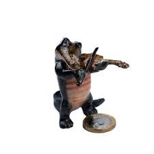 Miniature Ceramic Crocodile Violin Player Ornament