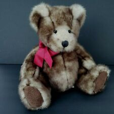 """Russ Berrie Danny Teddy Bear Stuffed Animal Made For Bombay 12"""" Red Ribbon Bow"""