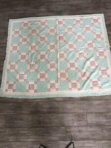 "Large Lightweight Patchwork Quilt 67"" x 82"" Light Blue Pink Floral White Squares"
