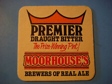Beer Coaster >< MOORHOUSE'S Brewers of Real Ale Premier Draught Bitter ~ ENGLAND