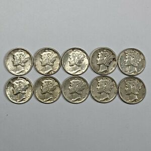 Lot of 10 Mercury Silver Dimes 177951B