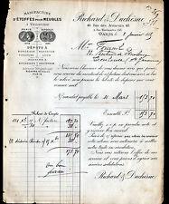 """PARIS (II°) ETOFFES SOIERIES TISSUS d'AMEUBLEMENT """"RICHARD & DUCHESNE"""" en 1885"""