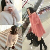 Women Fur Baggy Pullovers Turtleneck Cashmere Knitted Winter Coat Sweater Zsell