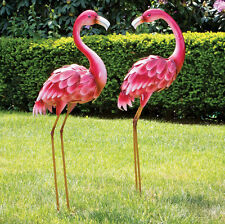 Metal Flamingo Garden Statues Decor Lawn Yard Garden Sculpture Bird Patio Art